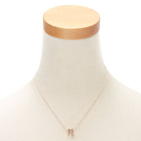 Rose Gold Cursive Initial Pendant Necklace - N,