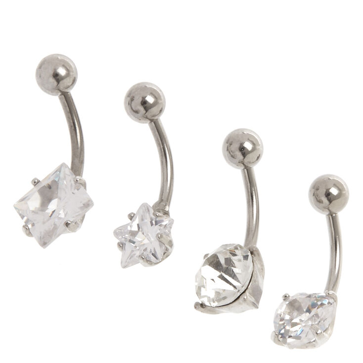 14G Cubic Zirconia Mixed Shapes Belly Rings,
