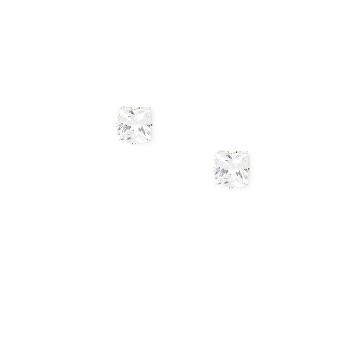 Silver Cubic Zirconia 4MM Square Stud Earrings,