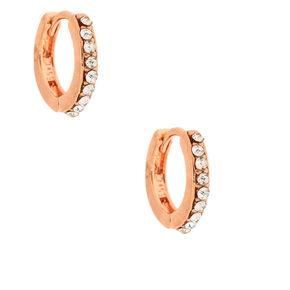 18kt Rose Gold Plated Delicate Clicker Hoop Earrings,