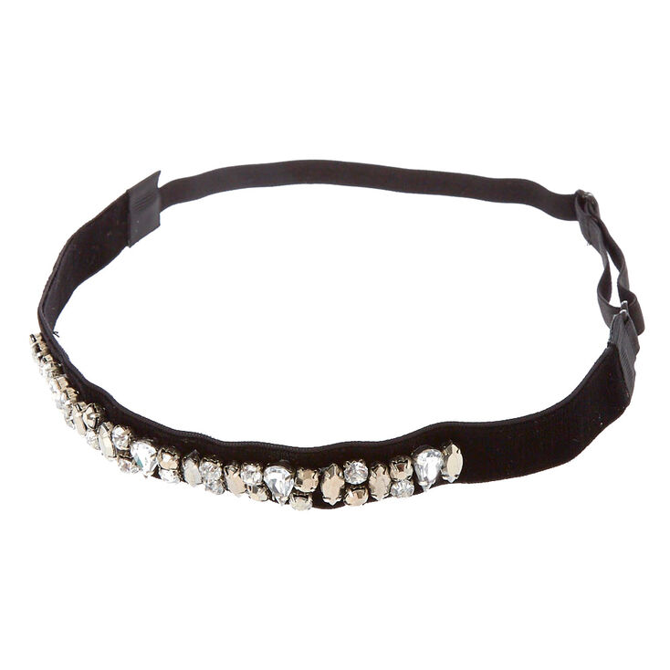 Black Velvet Crystal Headband,