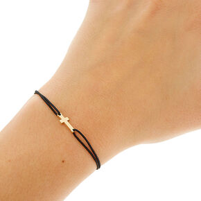 Black Double Stretch Bracelet with Cross Charm,