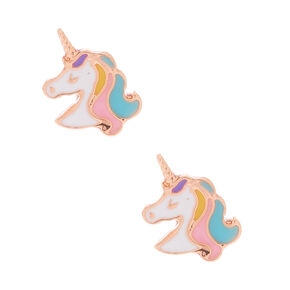 18kt Rose Gold Plated Unicorn Stud Earrings - Pink,