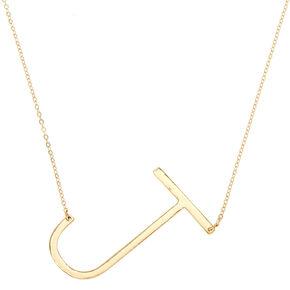 """XL """"J"""" Initial Pendant Necklace,"""