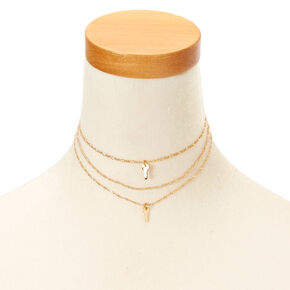 Gold-Tone 3 Pack Key Charm Choker Necklaces,