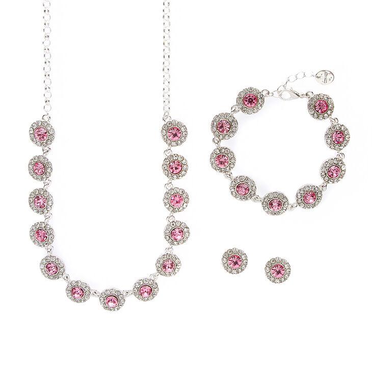 Pavé Rhinestone & Pink Crystal Circles Statement Necklace, Bracelet & Stud Earrings Set,