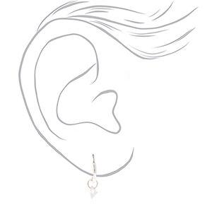 Cubic Zirconia Charm 10MM Hoop Earrings,