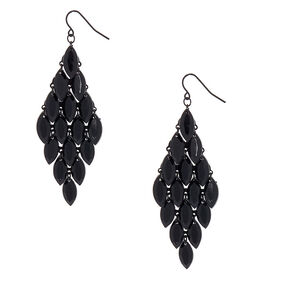 "3"" Teardrop Chandelier Drop Earrings - Black,"