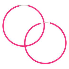 40MM Neon Hoop Earrings -  Pink,