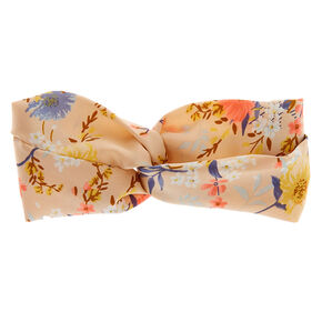 Daisy Floral Twisted Headwrap - Nude,