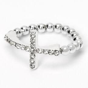 Silver Side Cross Stretch Ring,