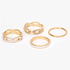 Gold Chain Link Rings - White,