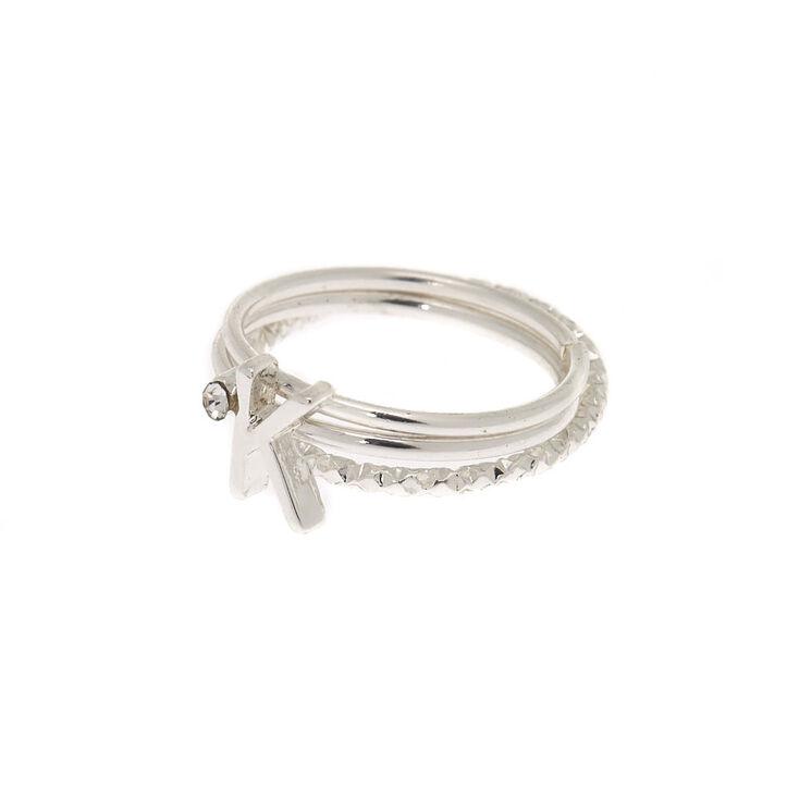 Silver Initial Midi Rings - K, 3 Pack,