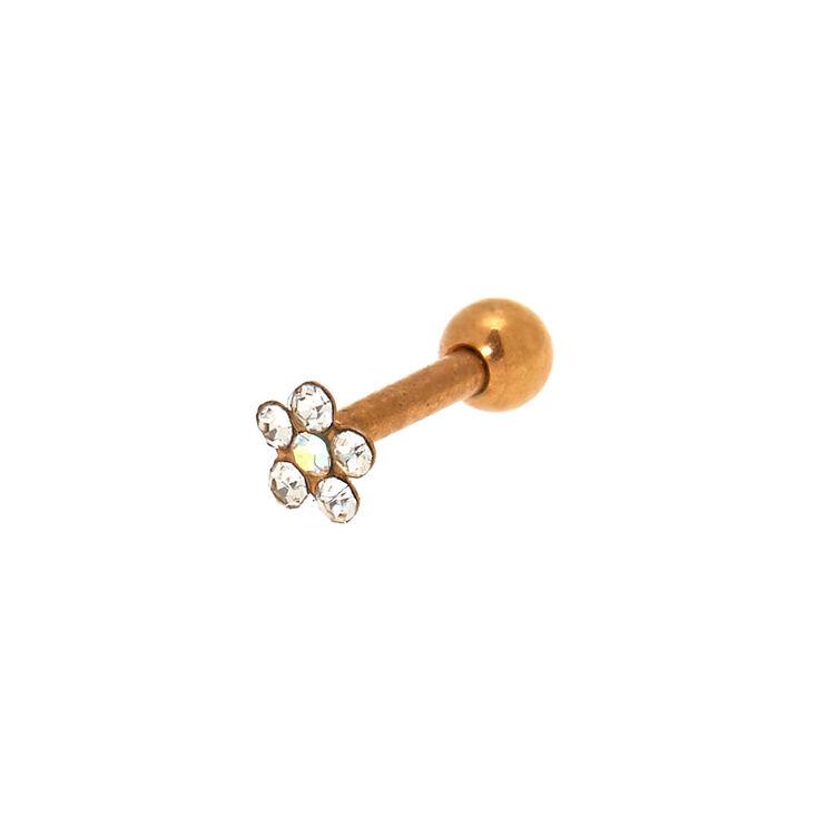 Rose Gold 16G Flower Tragus Stud Earring,