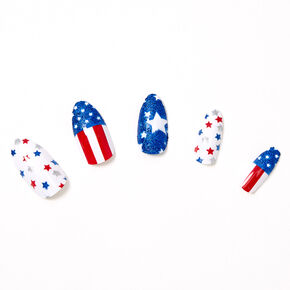 USA Stars & Stripes Stiletto Press On Faux Nail Set - 24 Pack,