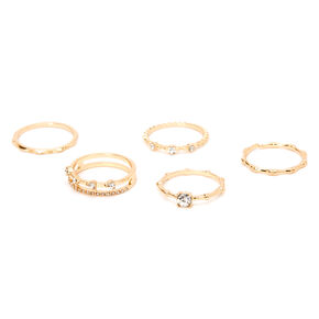 Gold Crystal Bamboo Rings - 5 Pack,