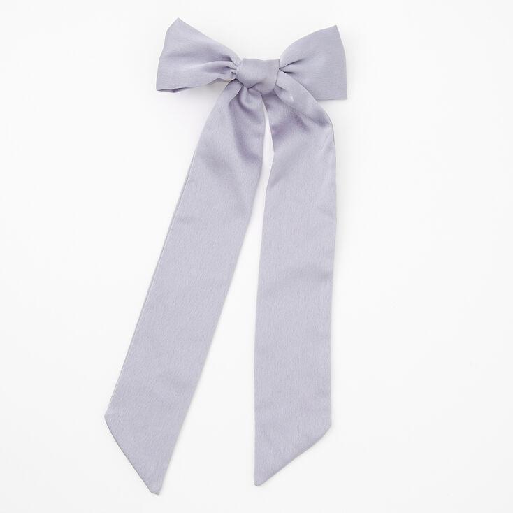 Satin Bow Hair Barrette - Gray,