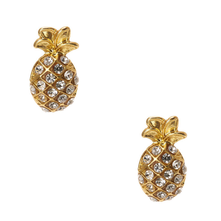 Gold Rhinestone Studded Pineapple Stud Earrings,