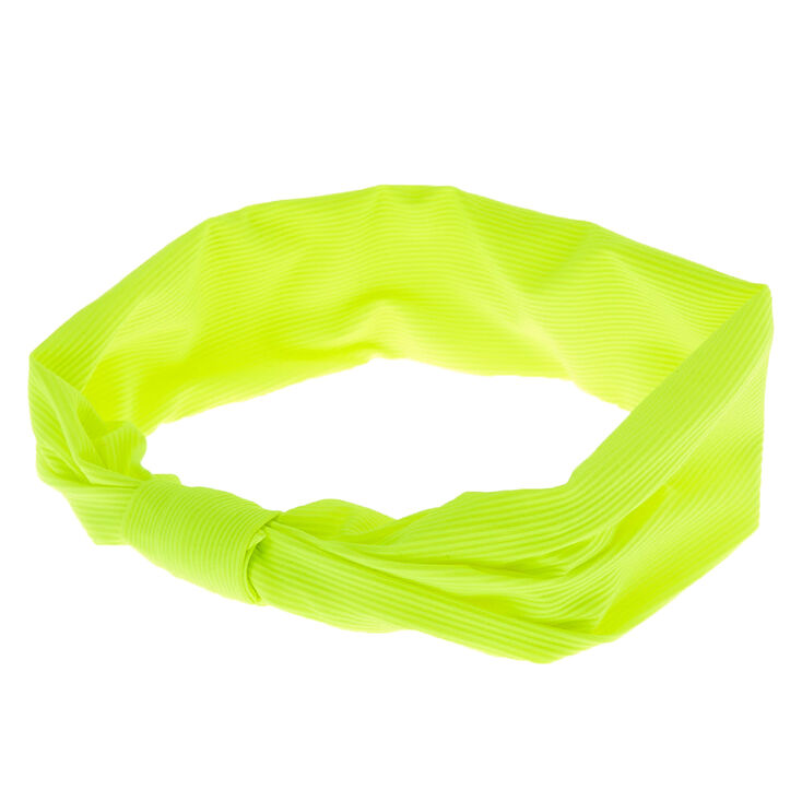 Ribbed Knotted Headwrap - Neon Lime,