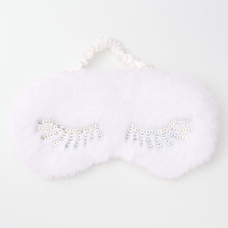 Eyelashes Furry Sleeping Mask - White,