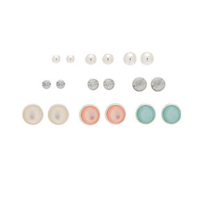 Silver Mixed Stud Earrings - 9 Pack,