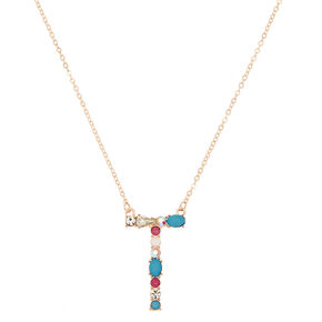 Embellished Long Initial Pendant Necklace - T,