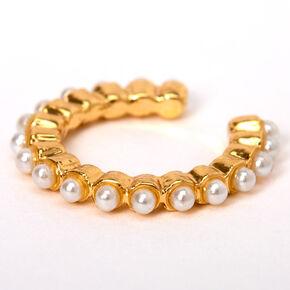 Gold Single Pearl Ear Cuff,