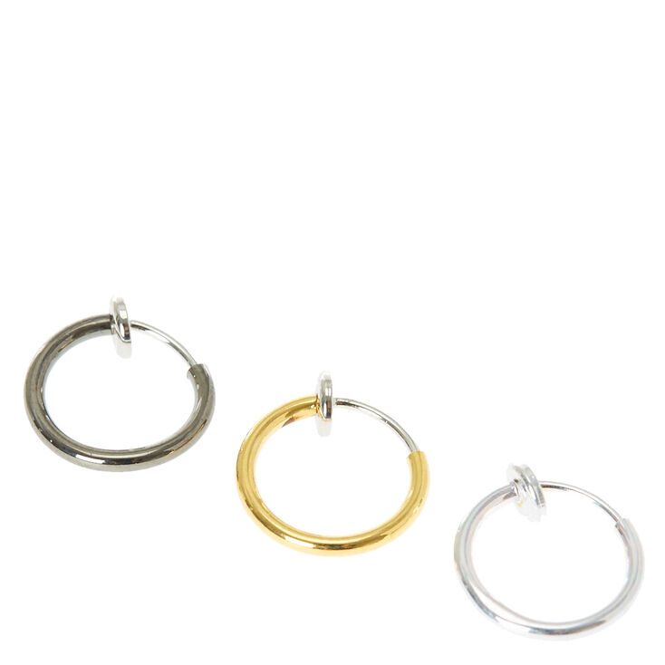 Metal Neutrals Faux Nose Rings Set of Three,