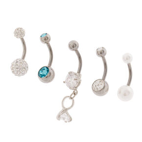Silver 14G Bridal Bling Belly Rings - 5 Pack,