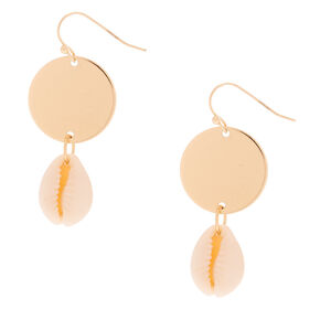 "Gold 1.5"" Cowrie Shell Drop Earrings,"