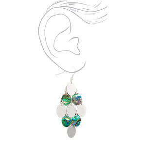 "Silver 2.5"" Abstract Seashell Oval Drop Earrings,"