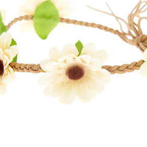 Daisy Braided Flower Crown Headwrap - Yellow,