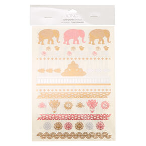 Elephant Art Temporary Tattoos,