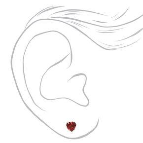 Silver Red & Pink Cubic Zirconia Heart Stud Earrings - 3 Pack,