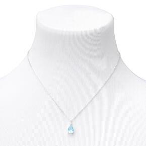 Silver Cubic Zirconia Pear Pendant Necklace - Blue,