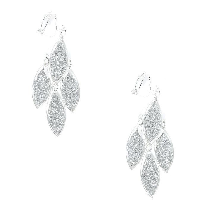 Silver Glitter Cascading Leaves Clip On Drop Earrings,