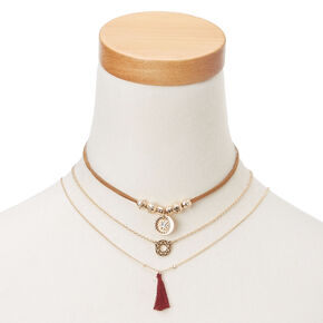 Three Piece Gold Accent Choker Necklace,