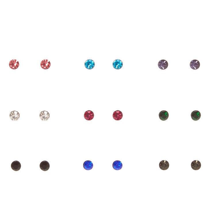 Multi-Colored Stone Stud Earring Set,
