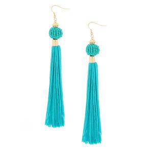 """5"""" Vintage Design Tassel Drop Earrings - Turquoise,"""