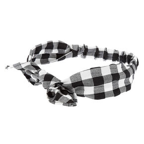 Gingham Knotted Bow Headwrap - Black,