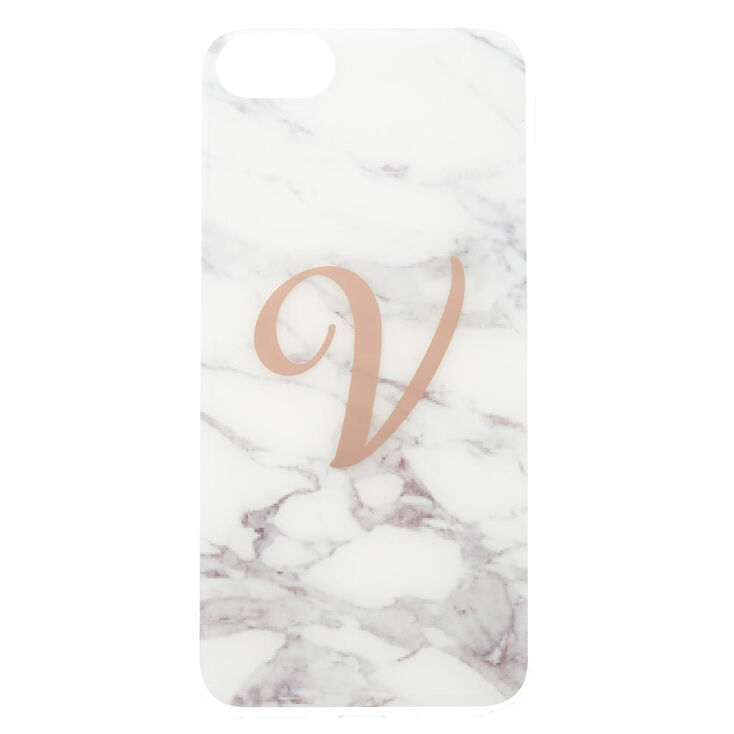 Marble V Initial Phone Case - Fits iPhone 6/7/8,