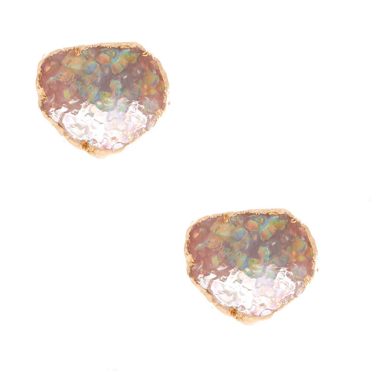 Geode Stud Earrings - Opal,