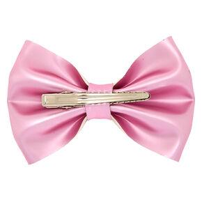 Metallic Hair Bow Clip - Pink,