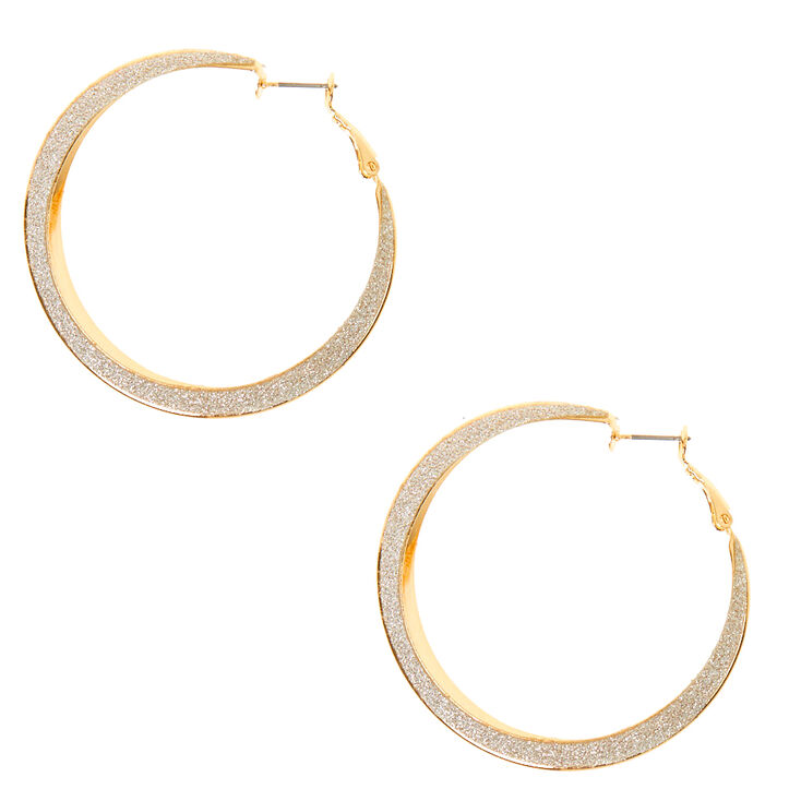 Gold 60MM Glitter Hoop Earrings,