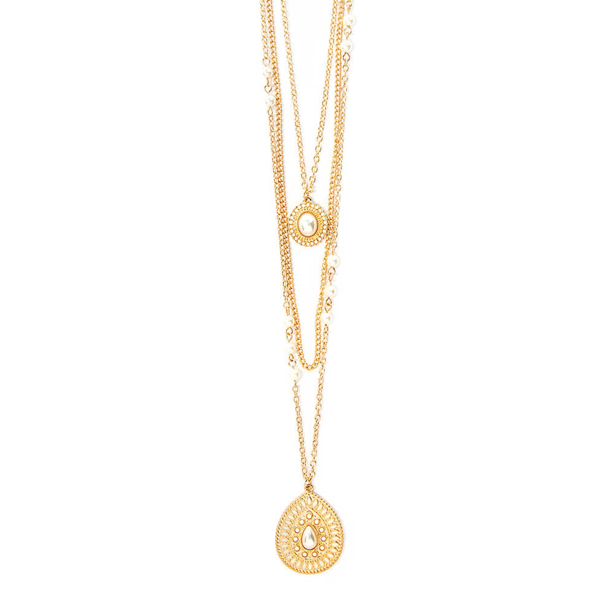 Ivory teardrop medallion three strand pendant necklace icing us ivory teardrop medallion three strand pendant necklace aloadofball Image collections