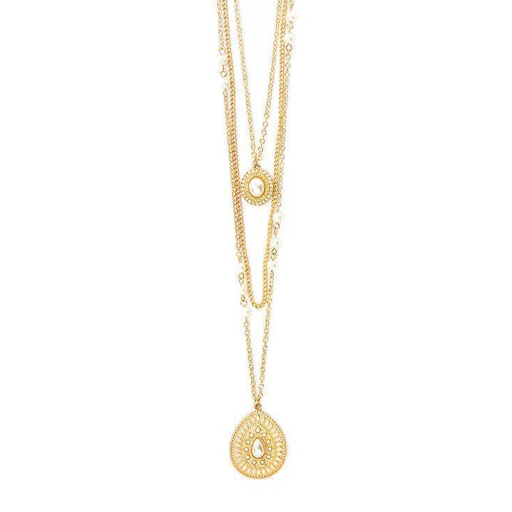 Ivory Teardrop Medallion Three Strand Pendant Necklace,