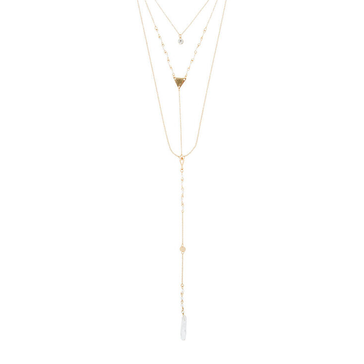 Gold Chain & Stone Layered Drop Necklace,