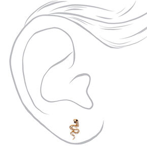 Gold Crystal Snake Stud Earrings,