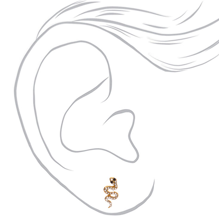 Gold Crystal Snake Stud Earrings,