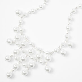 Draped Pearl Statement Necklace - White,